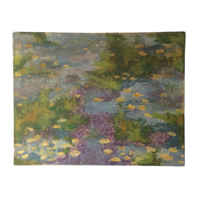 Impressionist Lily Pad Painting - Image 1 of 8