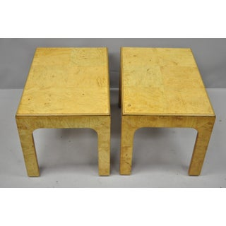 Vintage Mid-Century Henredon Burled Olive Wood Side Tables - A Pair Preview