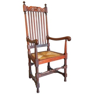 Late 19th Century New England William and Mary-Style Carved Mahogany Arm Chair Preview