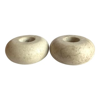 Vintage Stone Candle Holders, a Pair For Sale
