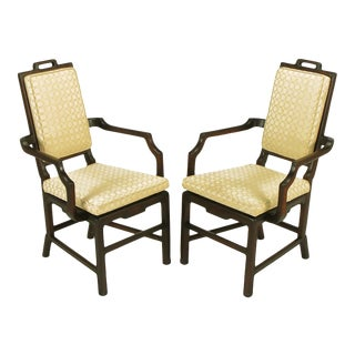 Pair of Asian Modern Mahogany Floating Seat Armchairs For Sale
