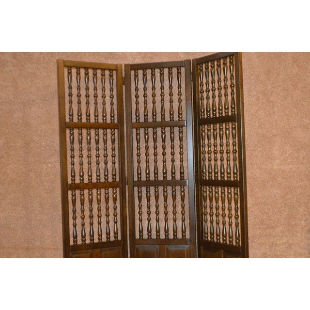 Vintage Jacobean Style Wood Room Divider For Sale - Image 4 of 13