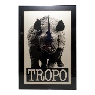 Vintage Tropo Rhinoceros Endangered Species Lithograph Poster For Sale
