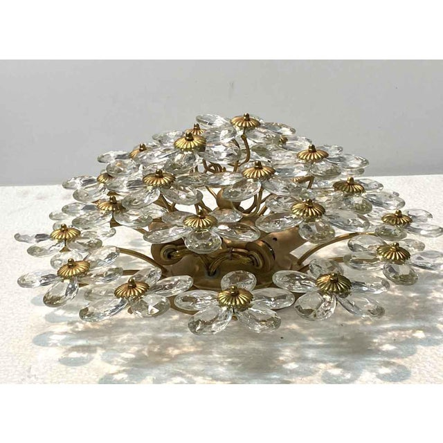 Mid 20th Century Crystal & Gold Leaf Floral Flush Mount Light Fixture For Sale - Image 5 of 8