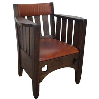 Oak & Leather Mission Cube Chair For Sale