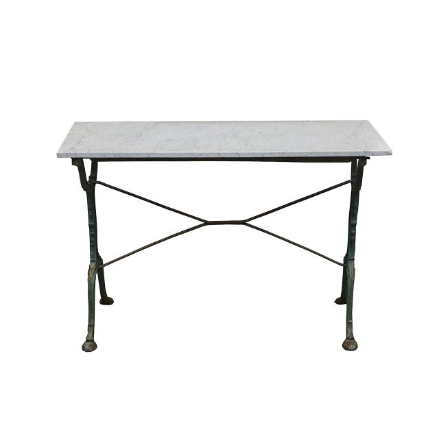 Green French Cast Iron Cafe Table With Marble Top For Sale - Image 8 of 8