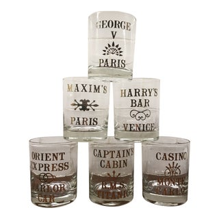 """Vintage Libbey """"Great Bars of the World"""" Gold Leaf Double Old Fashioned Glasses - Set of 6 For Sale"""