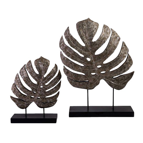Silver Antiqued Leaves Statues - A Pair - Image 1 of 2