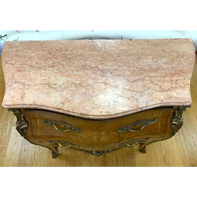 Brown French Louis XV Marquetry Commode For Sale - Image 8 of 8