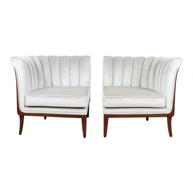 Mohair Hollywood Regency Pair of Chairs For Sale