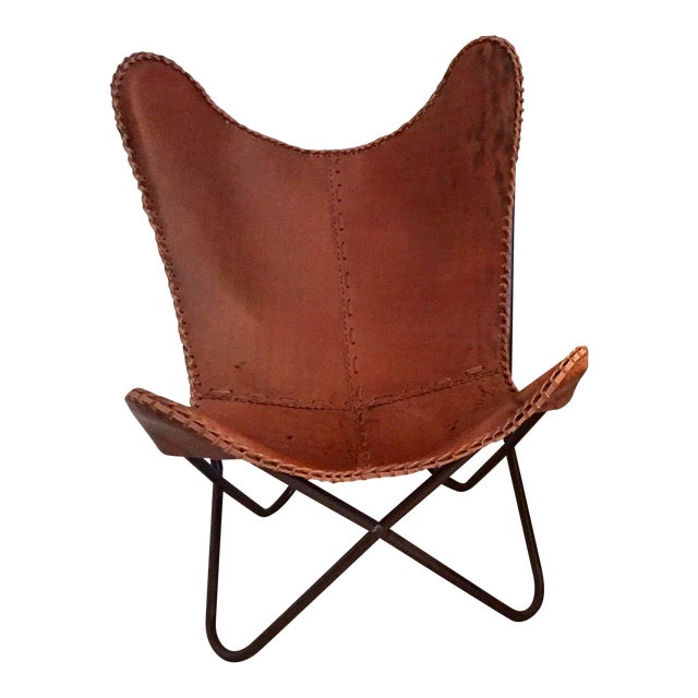 Tan Leather Butterfly Chair - Image 1 of 4