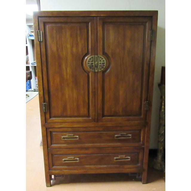 Century Furniture Asian Campaign Style Armoire Chest With Brass Accents For Sale - Image 11 of 11