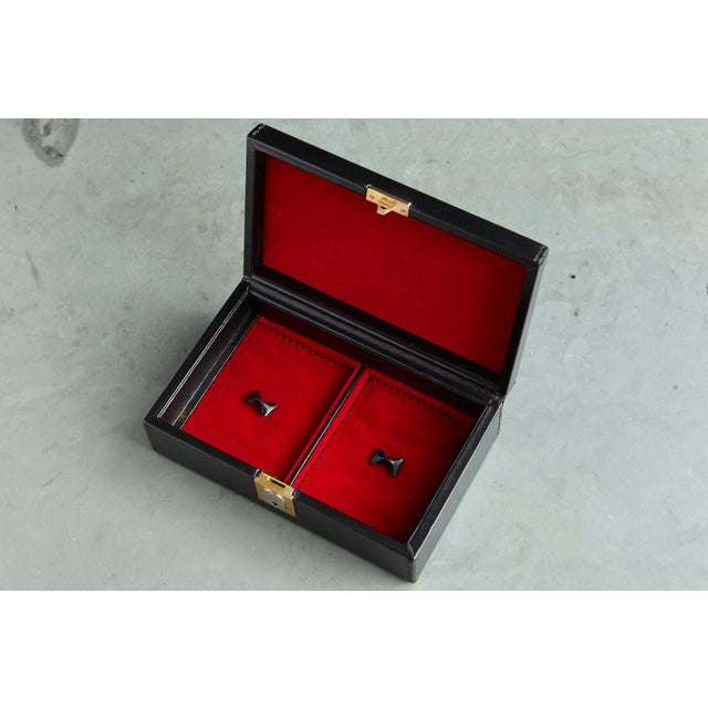 Black Gucci Black Leather and Red Velvet Jewelry Box From the Collection of Ann Turkel For Sale - Image 8 of 13