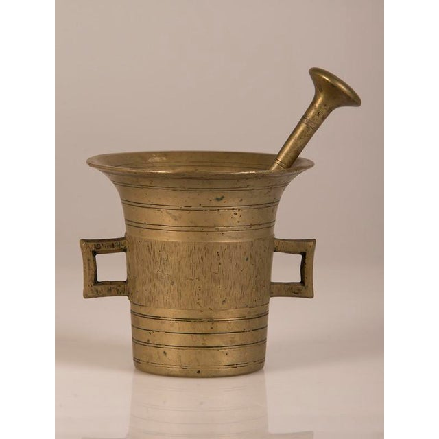 Solid Cast Brass Mortar and Pestle, France c.1920.