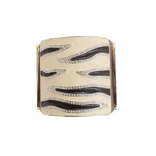 Valentino Leather & Enamel Zebra Stripe Rhinestone Cuff Bracelet For Sale
