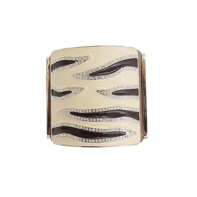Valentino Leather & Enamel Zebra Stripe Rhinestone Cuff Bracelet For Sale