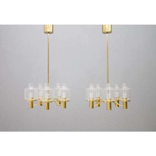 One of Two Brass and Glass Chandelier by Hans-Agne Jakobsson for Ab Markaryd Sweden For Sale - Image 13 of 13
