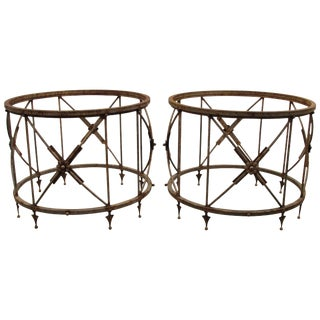1970s Neoclassical Metal Garden Tables - a Pair For Sale