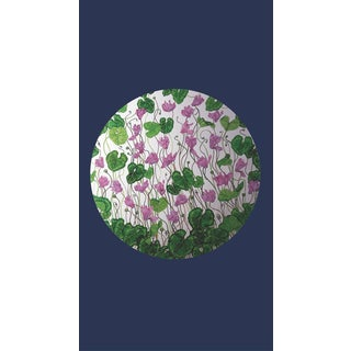 Tondi Fiori Collection Cyclamen Silver Circular Shaped Wallcovering On Eclipse For Sale