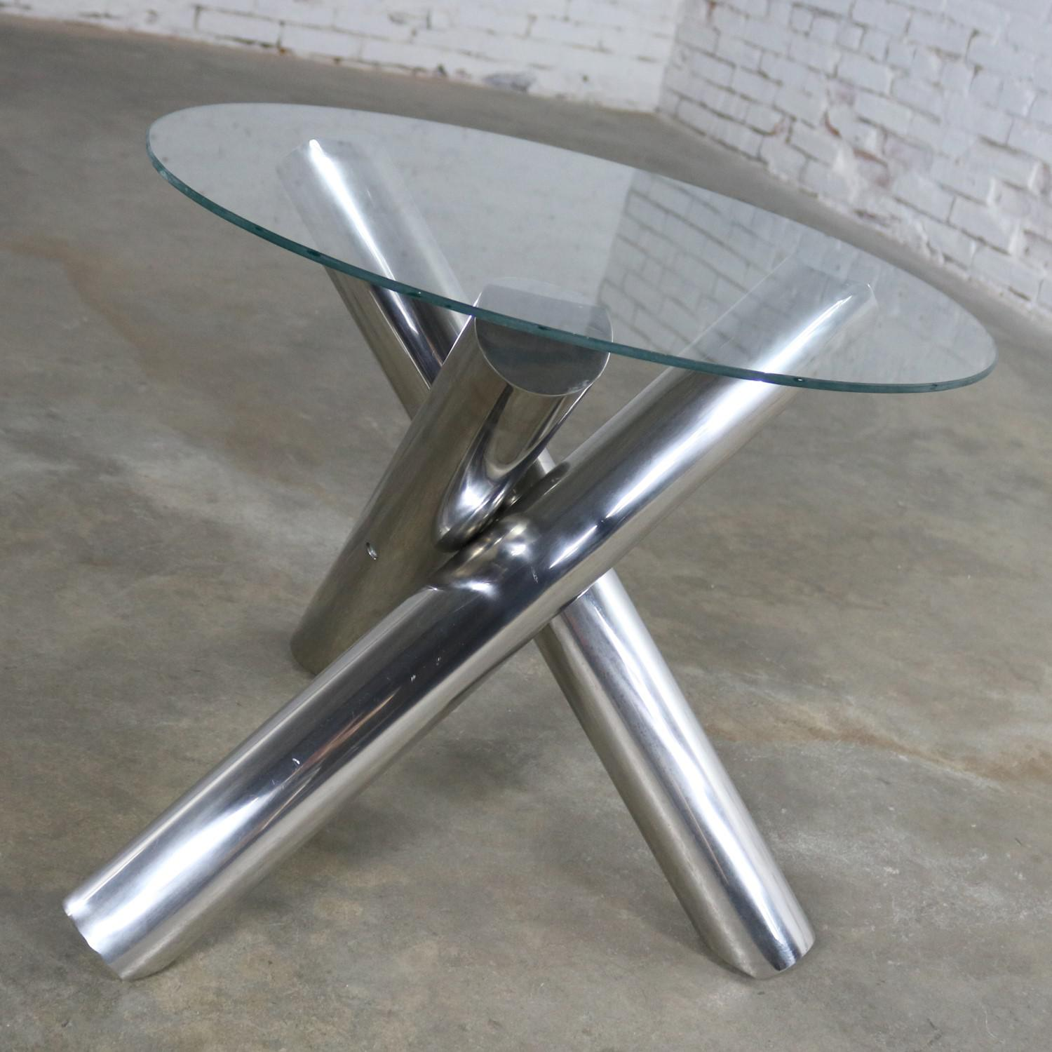 Tubular Stainless Steel Jacks Tripod End Table Round Glass Top Style Of  Milo Baughman For