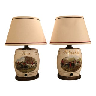 Lovely Equestrian Rider Motif-- if You Love Horses! Mid-Century Equestrian Rider Motif Ceramic Lamps - a Pair For Sale