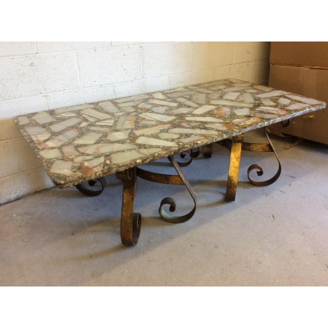 Arturo Pani Style Agate Abalone Gold Gilt Iron Base Coffee Table - Image 4 of 11