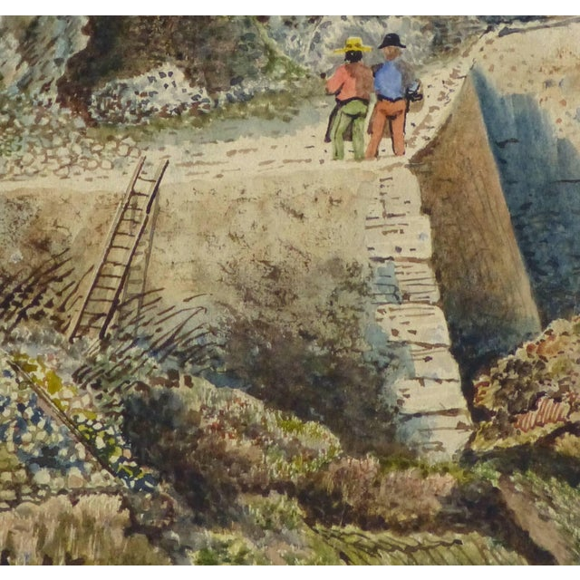 Traditional Antique French Watercolor - the Overlook For Sale - Image 3 of 5
