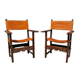 Spanish Baroque Walnut Armchairs - a Pair For Sale