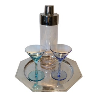 Vintage Martini Shaker with 2 Glasses & Silver Plated Tray Set For Sale
