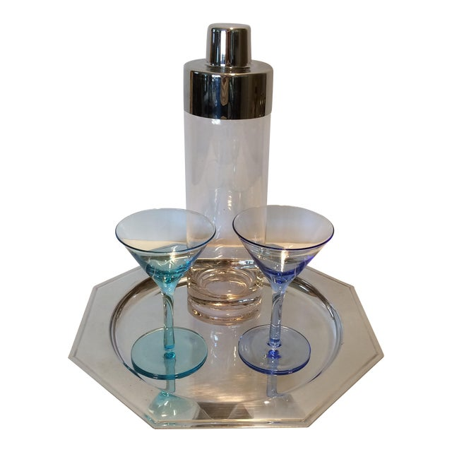 Vintage Martini Shaker with 2 Glasses & Silver Plated Tray Set - Image 1 of 11