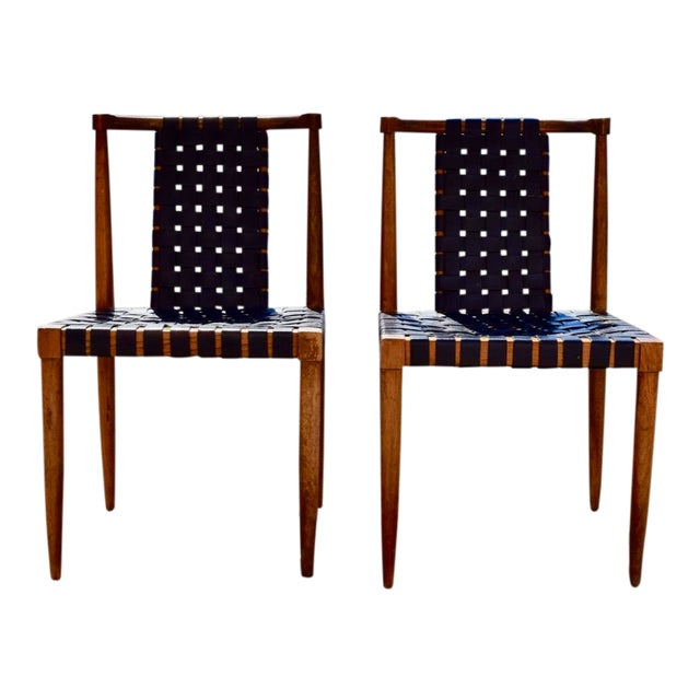1950s Mid-Century Modern Tomlinson Leather Strap Dining Chairs - a Pair For Sale