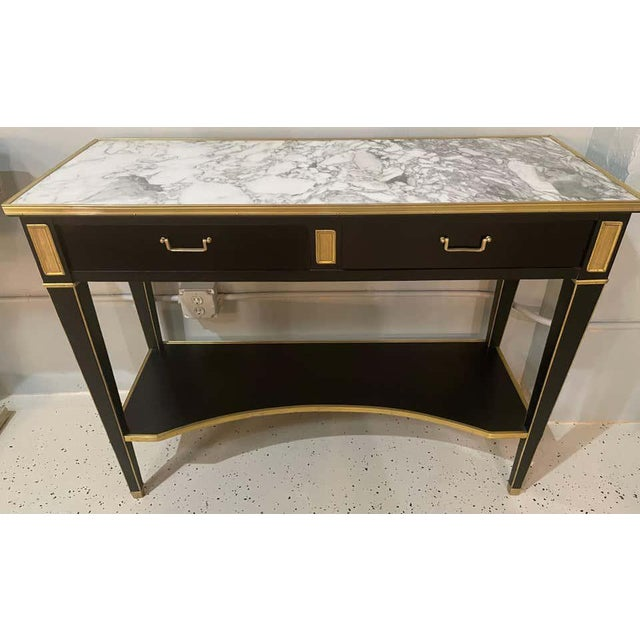 Pair of Hollywood Regency Neoclassical Ebony Console Tables Manner Jansen For Sale - Image 4 of 13