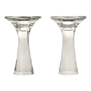 Tapio Witkkala for Iittala Glass Candlesticks Candle Holders #3412 1960s - a Pair For Sale
