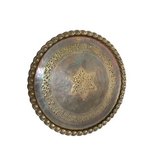 Antique Brass Platter Tray For Sale