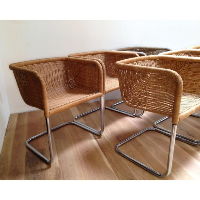 Harvey Probber Wicker & Chrome Chairs- Set of 6 - Image 3 of 7