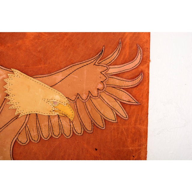 Americana Marc O Johnson Eagle in Leather Art Work For Sale - Image 3 of 10
