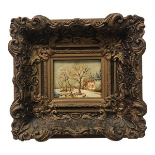 Antique Oil Painting of House & Trees, Framed For Sale