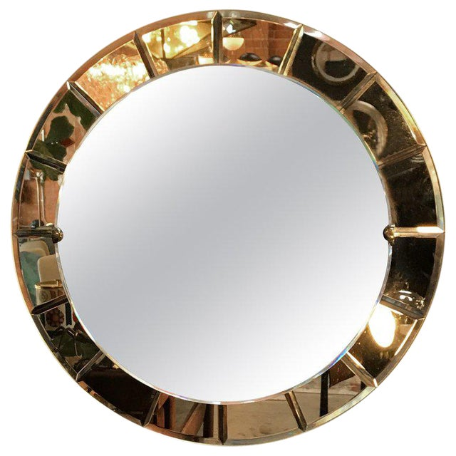 Cristal Arte Monumental Red Round Wall Mirror, Italy, 1950s For Sale