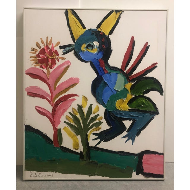 1970s Vintage Barbara DeSassure Abstract Bird Painting For Sale - Image 13 of 13
