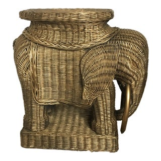 1970s Vintage Wicker Elephant Side Table or Stool For Sale