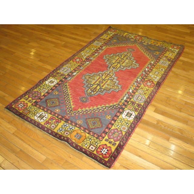 Small Vintage Tribal Design Rug - 3′7″ × 6′3″ For Sale - Image 5 of 5