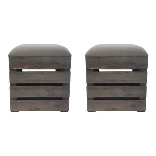 Pair of Modern Wood Slat Storage Benches For Sale