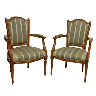 Pair of Louis XVI Fauteuils Armchairs, French, Circa 1800 For Sale