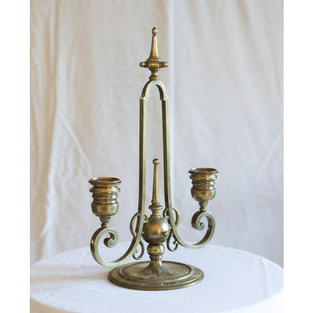 This lovely two-arm candelabra is from the famous Barbedienne foundry. It is made of bronze and dates from the late 19th...