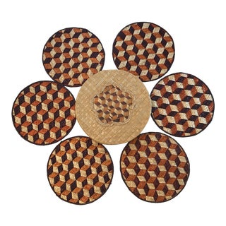 Vintage Straw Box With Woven Trivets - 7 Piece Set For Sale