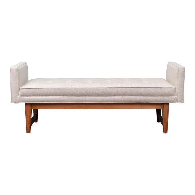 Mid-Century Modern Upholstered Bench by Selig For Sale