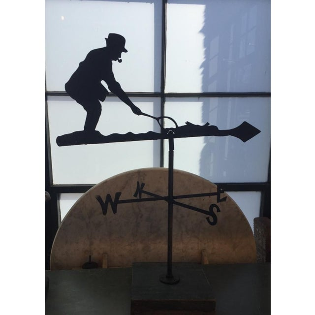 A fun and quirky piece of folk art, in the form of a fly fisherman weather vane. Set on wooden base for indoor decor, or...