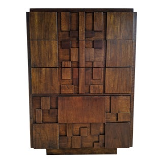 1960s Brutalist Five-Drawer Highboy Dresser by Lane Altavista For Sale