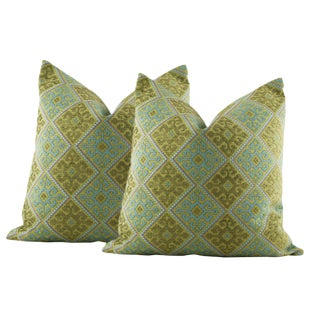 Green Heavy Weight Embroidered Quilted Pillow Covers - a Pair For Sale