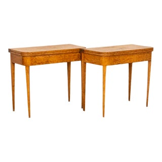 Pair, Swedish Birch Antique Game Tables Side Tables With Hidden Storage For Sale